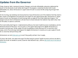 Update from Governor on Insulin Safety Net Program